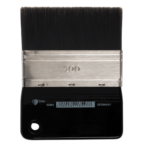 Flat brush size 100. Artist brush from lineo Edition Martin Thomas. Black synthetic hair. Best brush for acrylic paint. Brush with paddle handle.