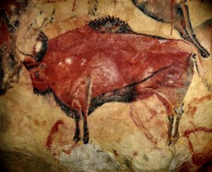 An early piece of art: A steppe bison in the cave of Altamira, Spain