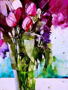 Watercolor painting with pink and violett tulips from the German artist Elke Memmler