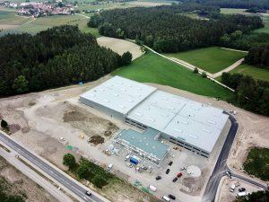 Baustelle von Europas Modernster Fabrik für Künstlerpinsel. Fertigungshallen, Lagerhallen und Büro