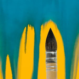 French watercolour brush on a yellow and blue painting