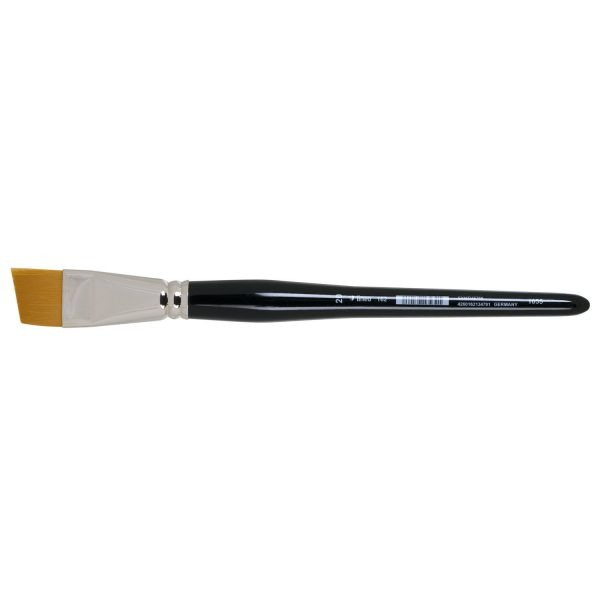 """lineo water color & primer brushes (Series 162), beveled, golden synthetic hair """"Toray"""", seamless nickel ferrules, short black-lacquered handles; brushes could also be used for acrylic and oil painting techniques."""