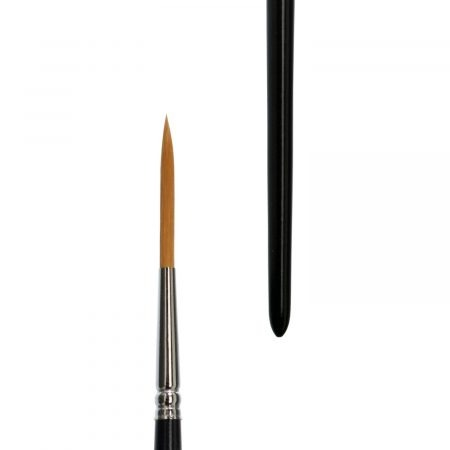 """lineo water Colour & liner brushes (Series 172) sharp, long hair, liner brushes, golden synthetic hair """"Toray"""", seamless nickel ferrules, short black-lacquered handles"""