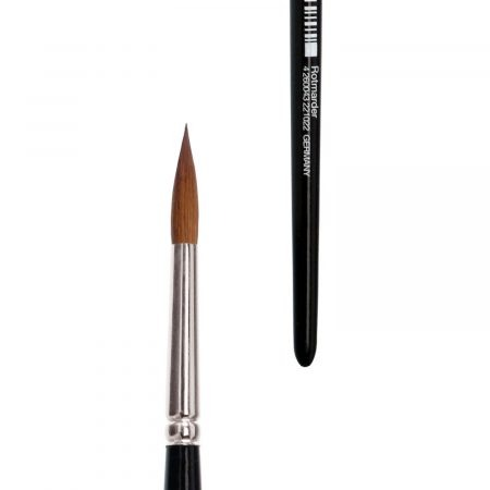 lineo watercolor brushes from lineo series 190, sharp, pure red sable hair, seamless nickel ferrules, short black-lacquered handles.