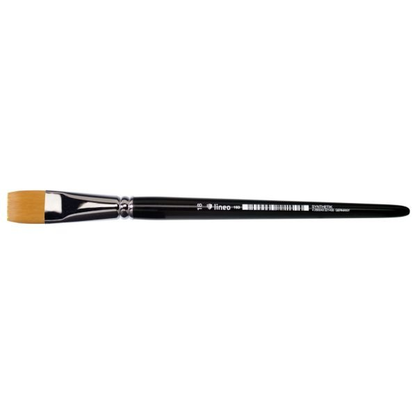 """Watercolor brush from lineo Series 193, bright, golden synthetic hair """"Toray"""", seamless nickel ferrules, short black-lacquered handles."""