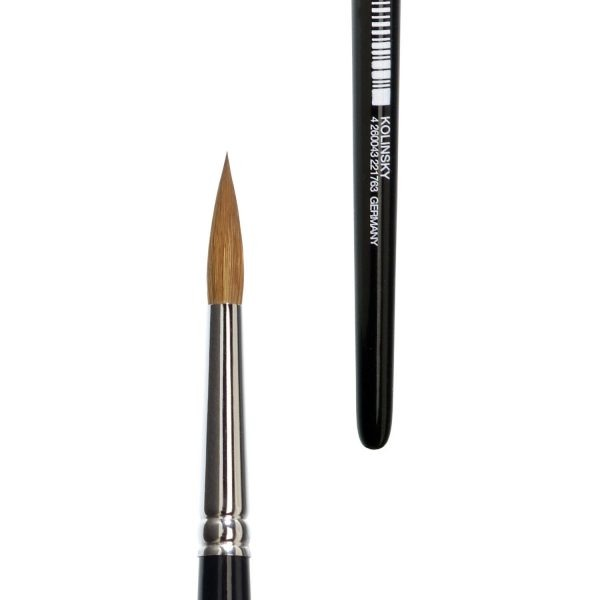 lineo watercolour brushes sharp, normal hair length, selected pure kolinsky red sable hair, seamless nickel ferrules, short black-lacquered handles