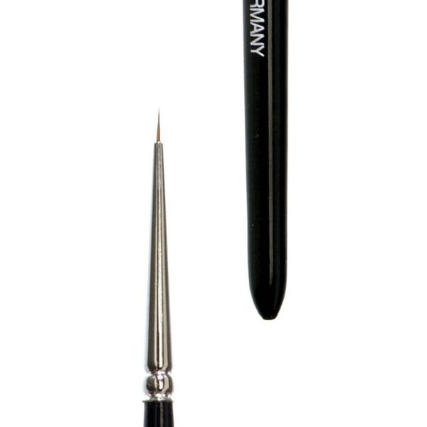 Watercolour brush 5/0, extra short hair, detail brush, selected pure kolinsky red sable hair, nickel ferrule, shortblack-lacquered handle.