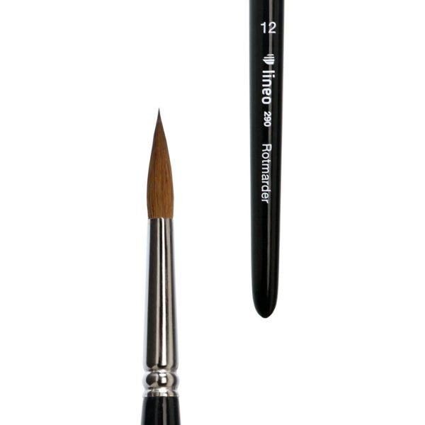 Watercolour brush sharp, pure red sable hair, seamless nickel ferrule, short black-lacquered handle triangular form.