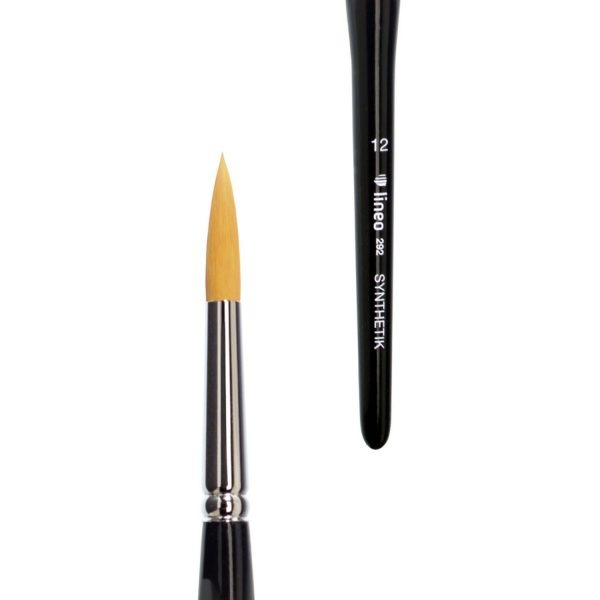 """Watercolour brush sharp, golden synthetic hair """"Toray"""", seamless nickel ferrule, short black-lacquered handle triangular form."""