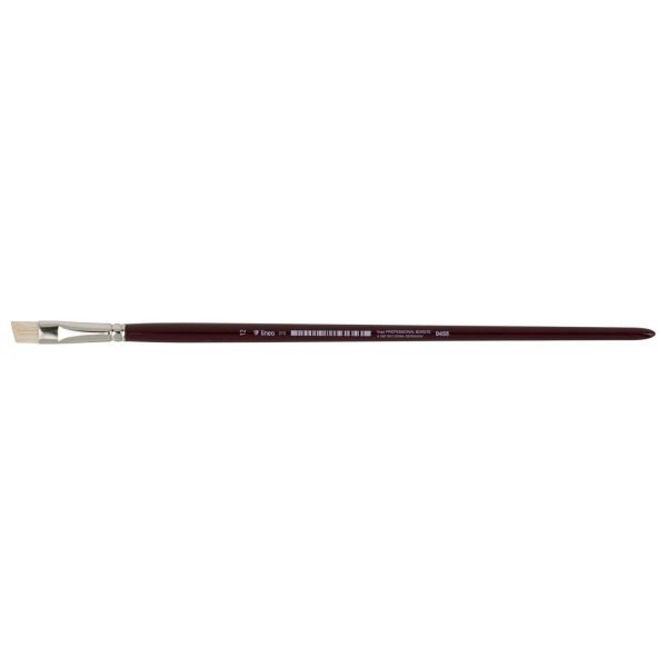 """lineo acrylic und oil brushes from lineo Series 310, beveled """"lineo PROFESSIONAL BORSTE"""", white Chungking-Bristles gummed, seamless nickel ferrules, long cherryred-lacquered handles size 12"""