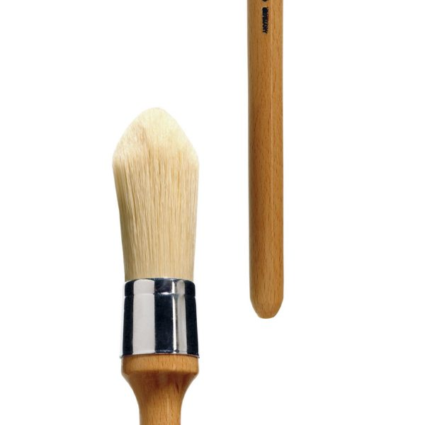 Extra large artist brush for Oil and Acrylic. Round, white Chungking-Bristle, nickel-plated ferrule, long lacquered handle. Handmade.