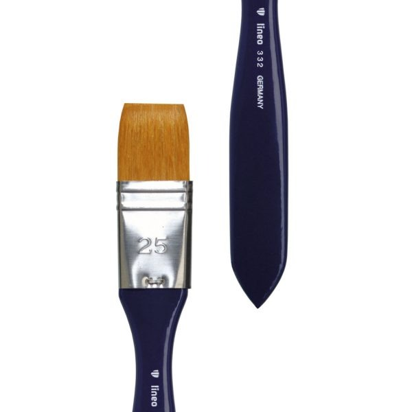 """Acrylic and Varnish brush bright, golden synthetic hair """"Toray"""", stainless steel ferrule, short indigo-lacquered handle."""