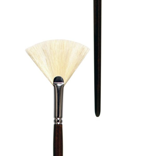 Oil and Acrylic brush fan form, white-bleached bristle, seamless nickel ferrule, long brown-lacquered wooden handle.