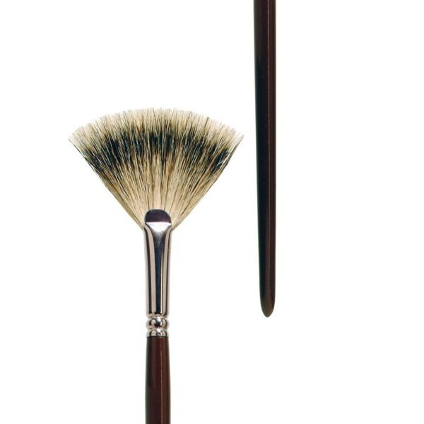 Oil and Acrylic brush fan form, pure badger hair, seamless nickel ferrule, long brown-lacquered wooden handle.