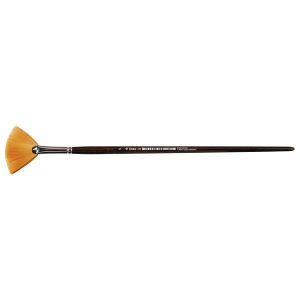 """Oil and Acrylic brush fan form, golden synthetic hair """"Toray"""", seamless nickel ferrule, long brown-lacquered wooden handle."""