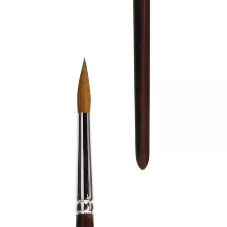 Oil and Acrylic brush round, pure red sable hair, seamless nickel ferrule, long brown-lacquered wooden handle.