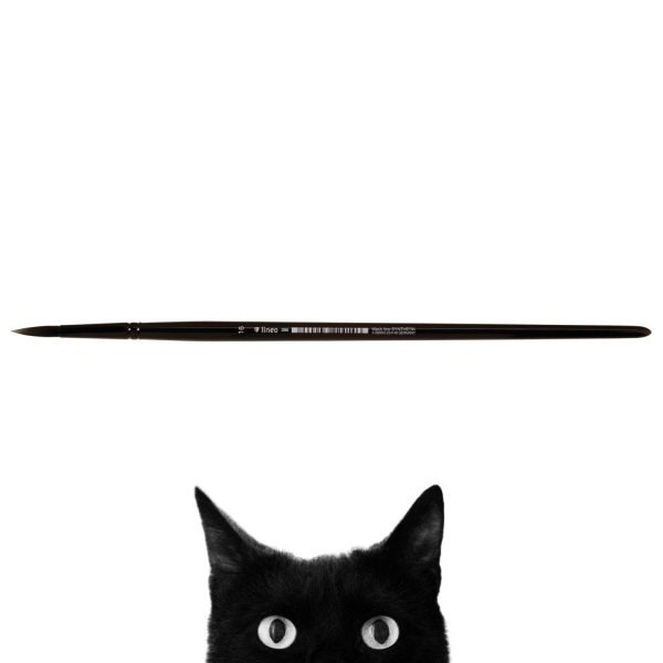 """Oil and Acrylic brush """"black line"""", round, black synthetic hair, seamless black aluminium ferrule, long black-lacquered wooden handle."""