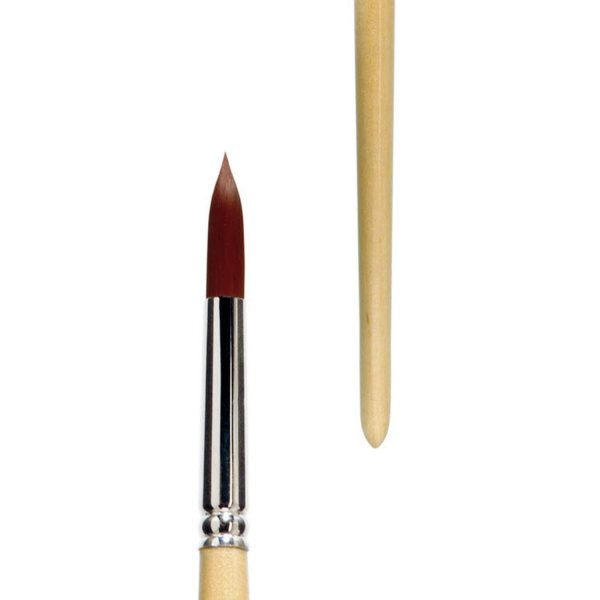 """Acrylic brushes bright """"lineo PERFECT ACRYL"""", elastic red-brown synthetic hair, seamless nickel ferrule, long natural-lacquered wooden handle."""