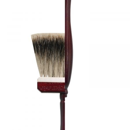 Bright Blender Brush, finest badger hair, cherry-red-lacquered special handles. Traditionally handmade in Germany.