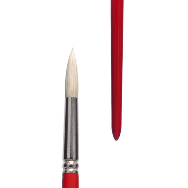"""Oil and Acrylic brushes (Series 311) round, """"lineo PROFESSIONAL BORSTE"""", white Chungking-Bristles gummed, seamless nickel ferrules, long red lacquered handles."""
