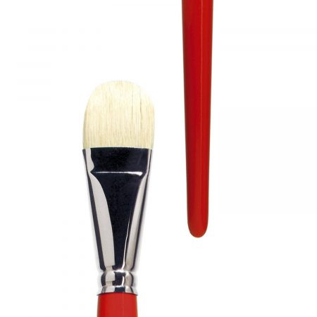"""lineo artist brush for oil and acrylic paint filbert, """"lineo PROFESSIONAL BORSTE"""", white Chungking-Bristles gummed, seamless nickel ferrules, long redlacquered handles"""