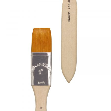 """Acrylic and Varnish (Series 331) brush bright, golden synthetic hair """"Toray"""", tin ferrules, short not lacquered handles."""