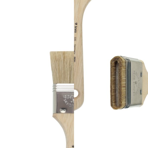 Bright brushes for special effects, whitebristles, tin ferrules, short not-lacquered handles