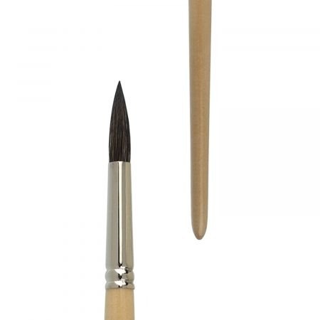 """Acrylic and oil brush round """"MASTER MIX ACRYLIC OIL"""", mixture made of natural and synthetic hair, seamless nickel ferrules, long natural-lacquered handles."""