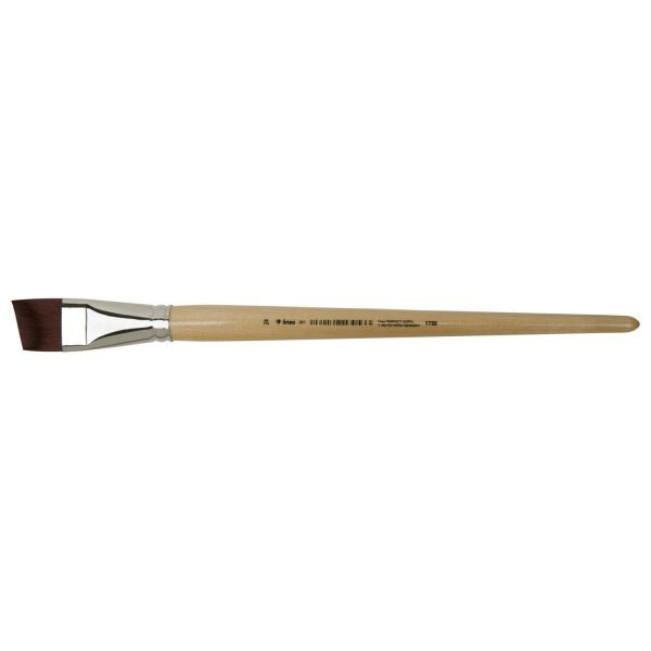 """lineo acrylic brushes beveled """"lineo PERFECT ACRYL"""", elastic red-brown synthetic hair, seamless nickel ferrules, long natural-lacquered handles"""