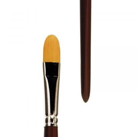 """Oil and Acrylic brush (Series 394) filbert, golden synthetic hair """"Toray"""", seamless nickel ferrules, long brown-lacquered handles."""