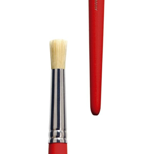 Stencil brush (Series 525), white-bleached bristles, tin ferrules, short red-lacquered handles.