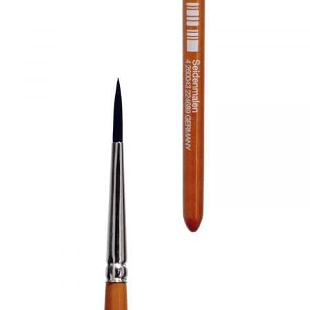 Silk painting brush (Series 540) sharp round, mixed fine hair, nickel ferrules, short cedar-lacquered handles.