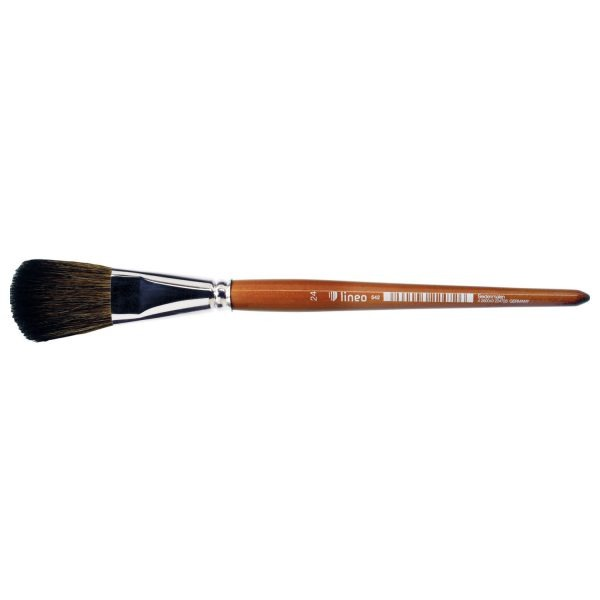 Silk painting brush (Series 542) oval bright, mixed fine hair, nickel ferrules, short cedar-lacquered handles.