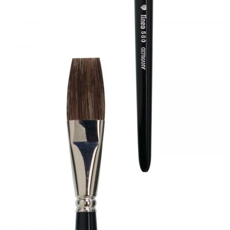 One stroke brush (Series 560), pure brown ox hair, nickel ferrules, short black-lacquered handles.