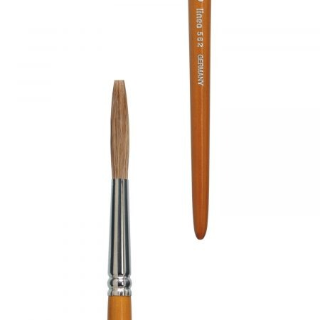 Lettering brush (Series 562), pure light ox hair, nickel ferrules, short cedar-lacquered handles.