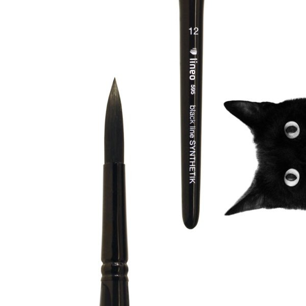 """Oil and Acrylic brush """"black line"""", round, black synthetic hair, seamless black aluminium ferrule, short black-lacquered triangular wooden handle."""