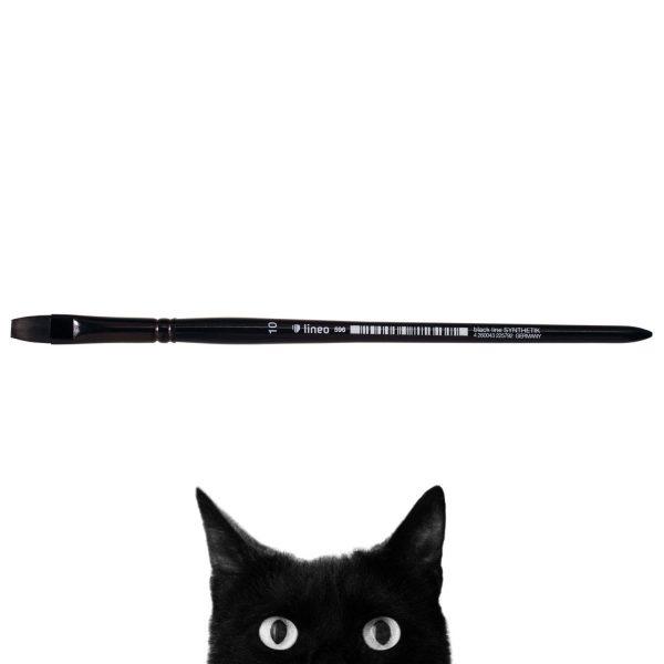 "Oil and Acrylic brush ""black line"", flat, black synthetic hair, seamless black aluminium ferrule, short black-lacquered wooden handle."