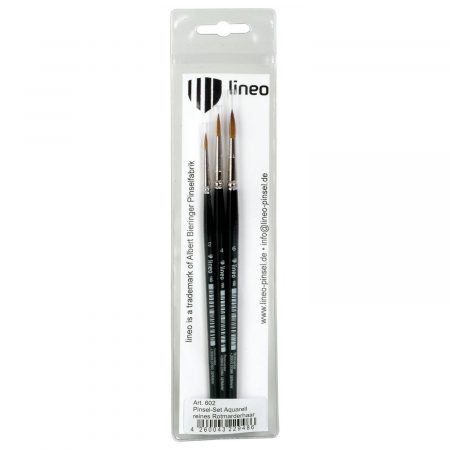 Watercolor brush set with three round red sable hair brushes