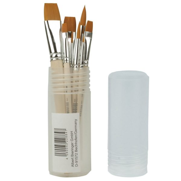 Artist brushes in a set container - synthetic hair wooden handles and aluminum ferrules