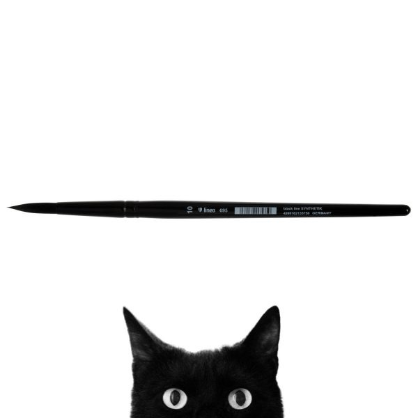 """Oil and Acrylic brush """"black line"""", round, black synthetic hair, seamless black aluminium ferrule, short black-lacquered wooden handle."""