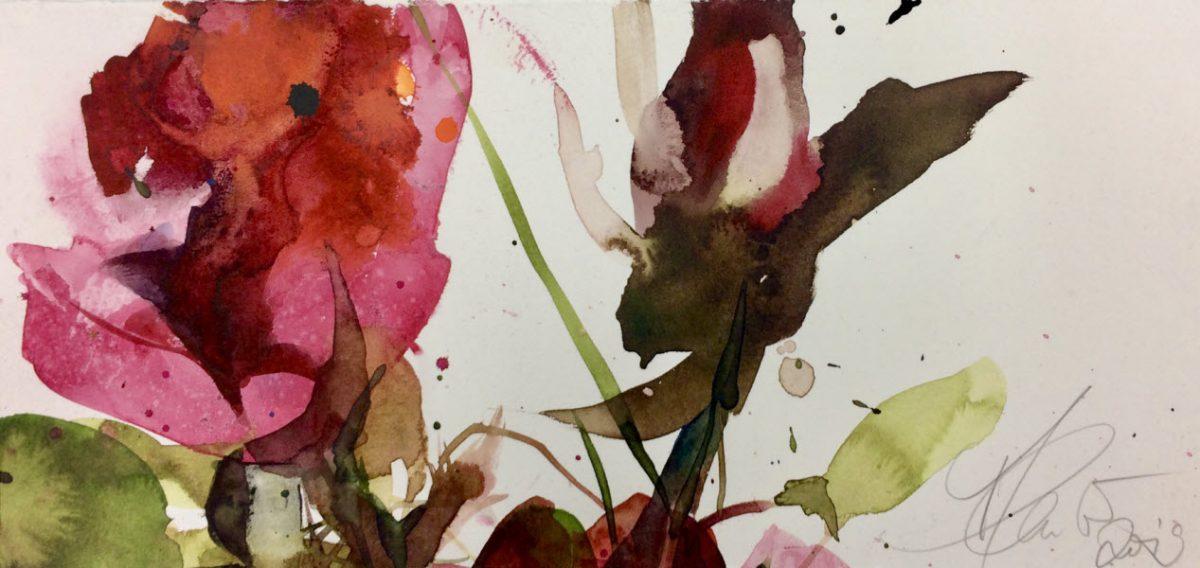 Watercolor artwork by Elke Memmler - Red Roses