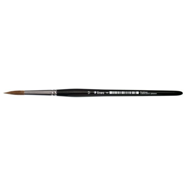 Watercolor brush sharp, pure light ox hair, seamless nickel ferrule, short black-lacquered handle.