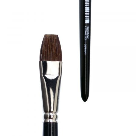 Bright watercolor brush, pure brown ox hair, seamless nickel ferrule, short black lacquered handle.
