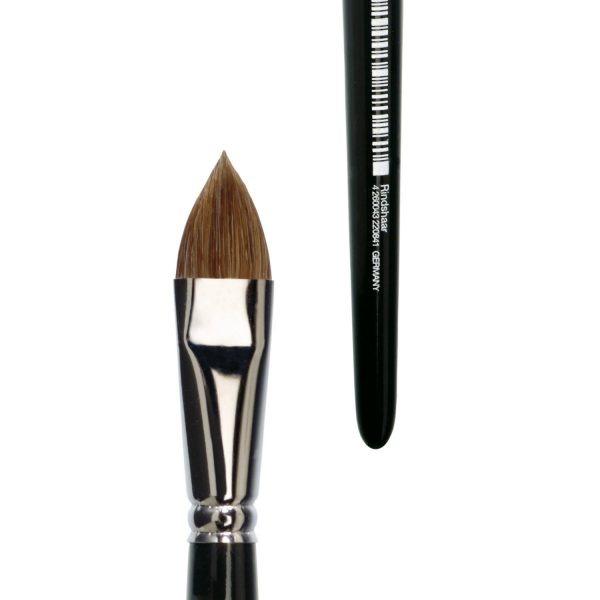 Handmade watercolor brush filbert, pure light ox hair, seamless nickel ferrule, short black-lacquered handle.