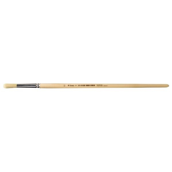 Oil and acrylic brush, round, white-bleached bristles, tin ferrule, long not-lacquered handle.