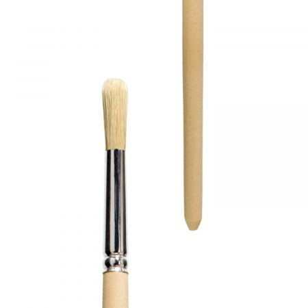 Oil and acrylic brush, Series 314 round, white-bleached bristles, tin ferrule, long not-lacquered handle.