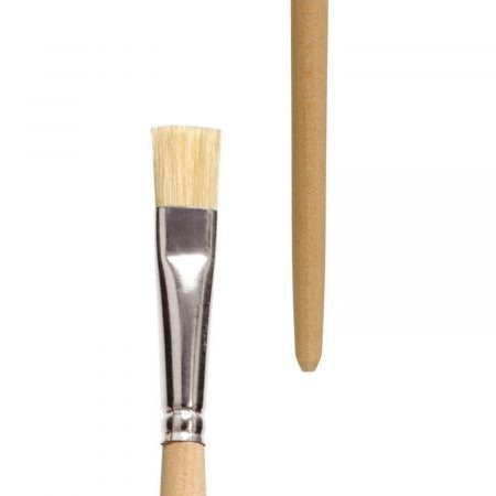Oil and acrylic brush, Series 315, bright, white-bleached hog hair, tin ferrule, long not-lacquered handle.