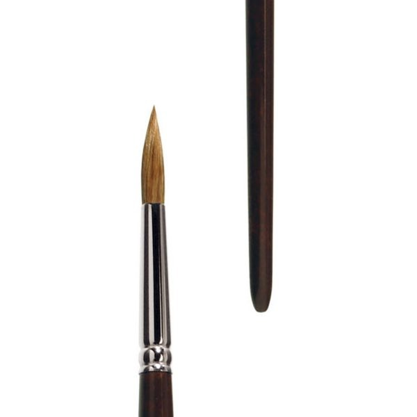 Handmade artist brush. Oil and Acrylic brush round, pure light ox hair, seamless nickel ferrule, long brown-lacquered handle.