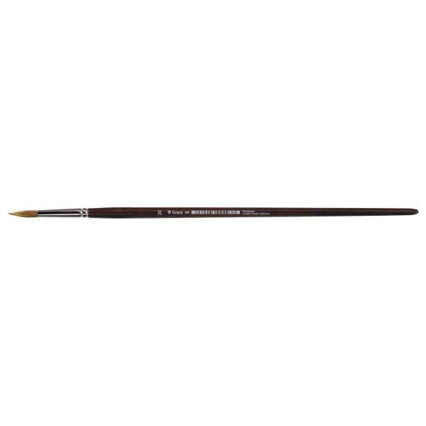 Oil and Acrylic brush round, pure light ox hair, seamless nickel ferrule, long brown-lacquered handle.