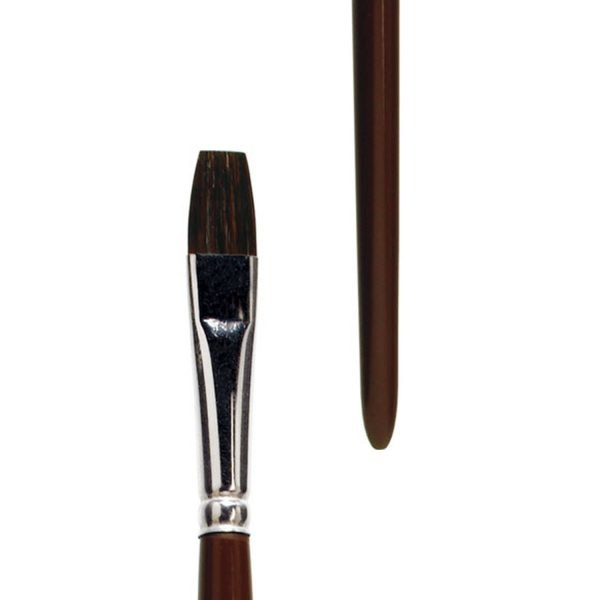 Oil and Acrylic brush, bright, pure brown ox hair, seamless nickel ferrule, long brown-lacquered handle. Handmade in Germany
